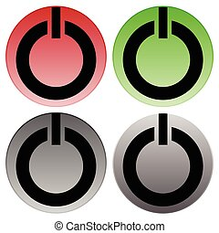Power buttons vector. Power switches, turn on, turn off,...