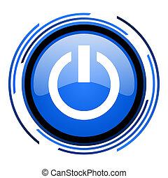 power circle blue glossy icon