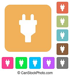 Power connector rounded square flat icons