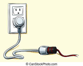 Power Cord Connection - Cartoon power cord plugged into an...