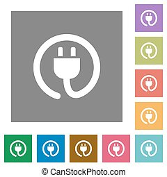Power cord square flat icons