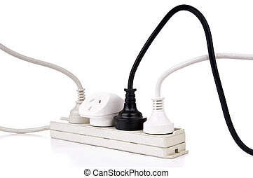 Power Cords Isolated - Power cords with powerboard isolated...