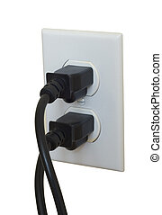 Power cords plug in electric outlet