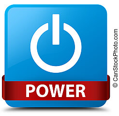 Power cyan blue square button red ribbon in middle