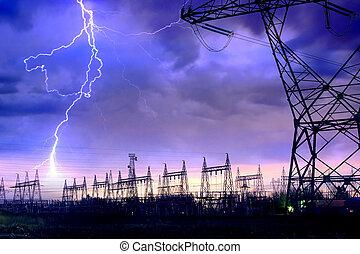 Power Distribution Station with Lightning Strike. - Dramatic...