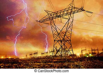 Power Distribution Station with Lightning Strike.
