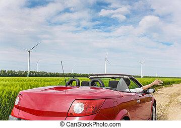 power., donna, cabriolet, campo, vento, rosso