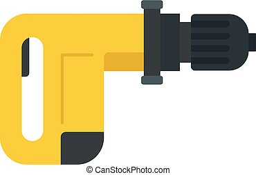Power drill icon, flat style