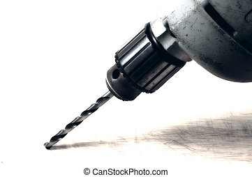 Power Drill - Photo of a Drill With BIt in Blue Tone.