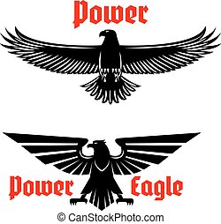 Power eagle icon or heraldic bird symbols set
