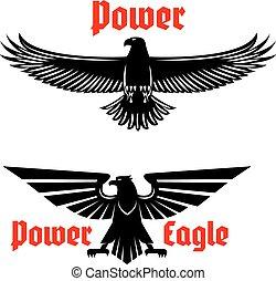 Power eagle icon or heraldic bird symbols set