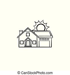 Power efficient house hand drawn sketch icon.