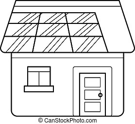 Power efficient house vector line icon.