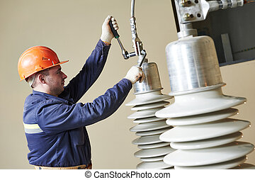 power electrician lineman at work