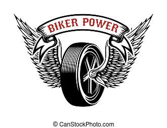 power., emblema, wheel., alato, segno., emblema, elemento, motociclista, disegno, etichetta, logotipo
