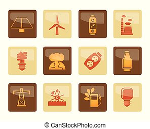Power, energy and electricity icons over brown background