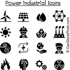 Power & Energy industrial icon set