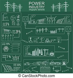 Power energy industry infographic, electric systems, set ...