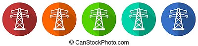 Power, energy tower icon set, red, blue, green and orange flat design web buttons isolated on white background, vector illustration