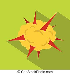 Power explosion icon, flat style
