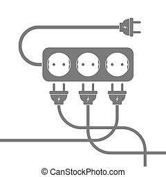 Power extension cord. Vector illustration.