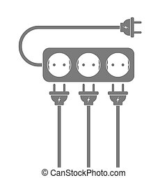 Power extension cord. Vector illustration.