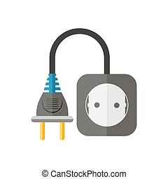 Power extension cord. Vector illustration. - Power extension...