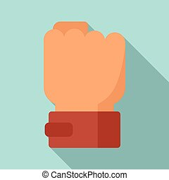 Power fist icon, flat style