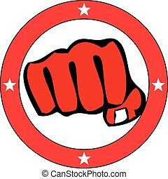 power fist mma, karate, boxing logo