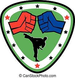 power fist mma, karate, boxing logo - strong fist belt,...