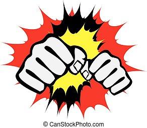 power fist mma, karate, boxing logo - Black belt power fist...
