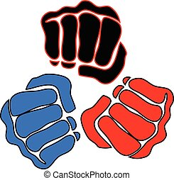 power fist mma, karate, boxing logo