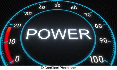 Power futuristic meter or indicator. Conceptual 3D animation...