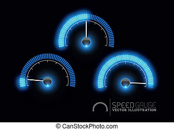 Speed, power and / or fuel gauge meter stages. Vector illustration
