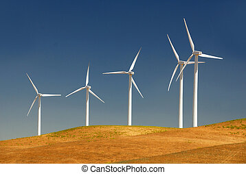 Stark White Electrical Power Generating Wind Turbines on Rolling Hills, Rio Vista, California