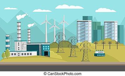 Power Generation Orthogonal Illustration