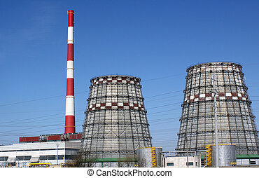 Power generation - Power station with chimney and cooling...
