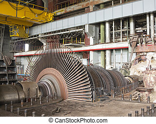 Power generator and steam turbine during repair at power...