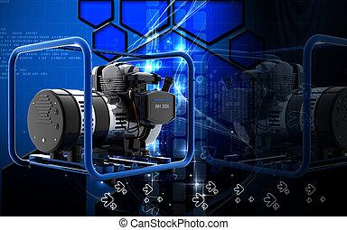 Power generator - Digital illustration of Power generator in...