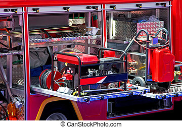 Power generator - Emergency power generator in fire engine...
