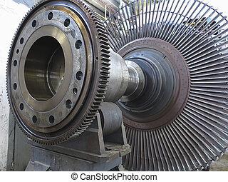 Power generator steam turbine during repair at power plant -...