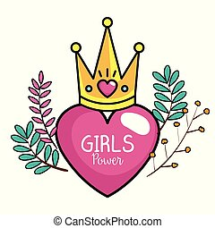 power girl card with heart and crown