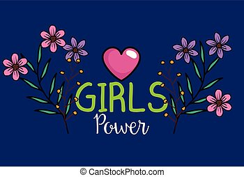 power girl card with heart and flowers