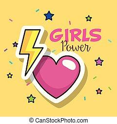 power girl card with heart