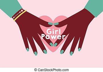 power girl poster with afro hands and heart