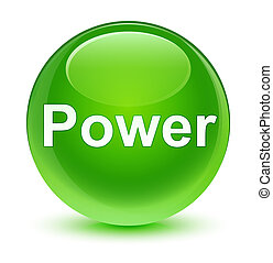 Power glassy green round button