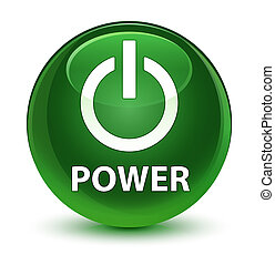 Power glassy soft green round button