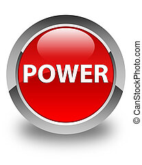 Power glossy red round button
