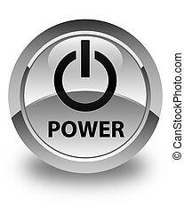 Power glossy white round button