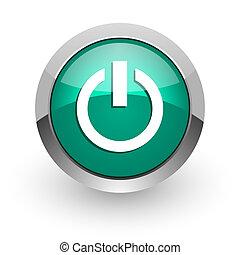 power green glossy web icon